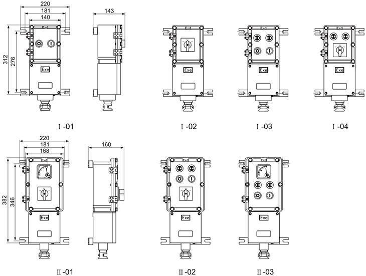 LBZ防爆操作柱隔爆型壳体尺寸图