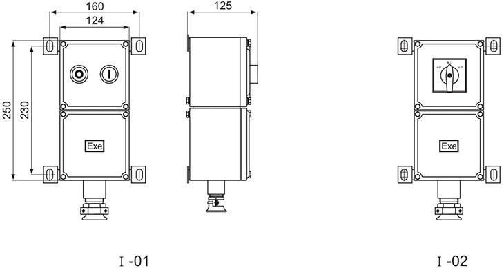 LBZ防爆操作柱增安型壳体尺寸图