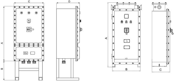 BQJ系列防爆自耦降压电磁起动箱外形及安装尺寸