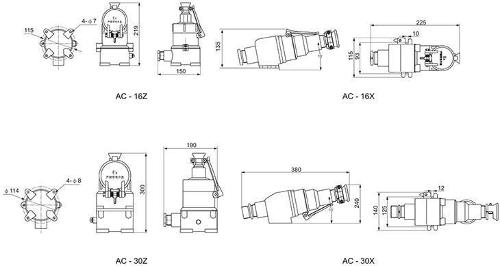 AC系列防爆插销外形及安装尺寸