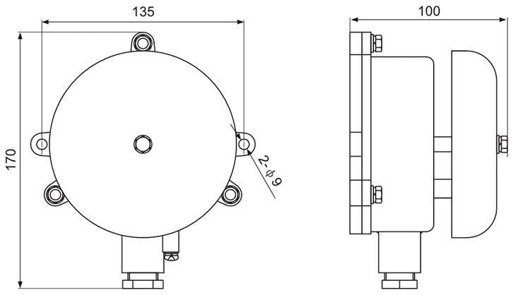 BDL防爆电铃外形及安装尺寸