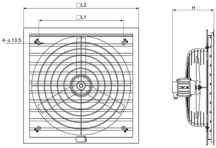 CBF系列防爆排风扇外形及安装尺寸