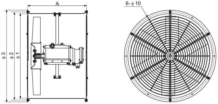 BAF系列防爆轴流风机外形及安装尺寸