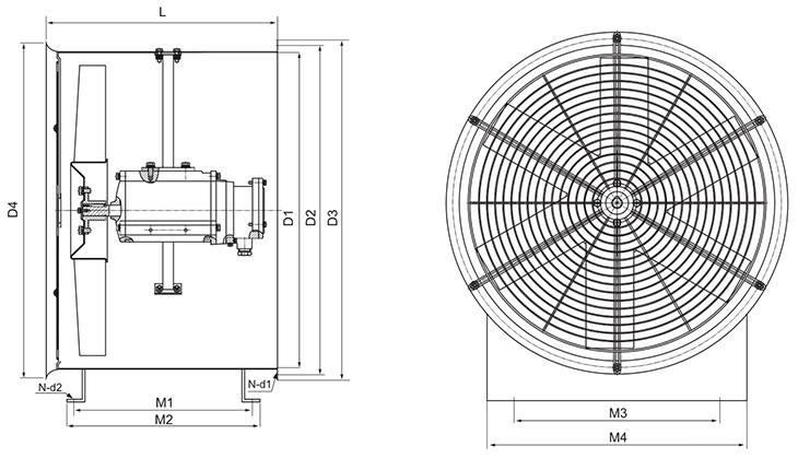 BT35-11系列防爆轴流风机外形及安装尺寸