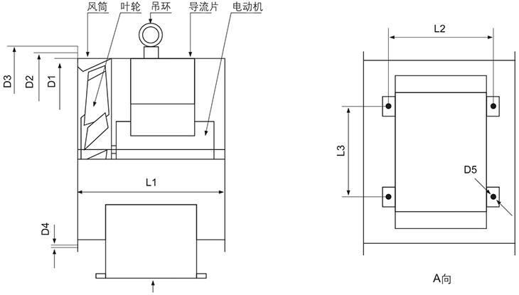 SWF系列防爆低噪声高效(斜流式)通风机外形及安装尺寸