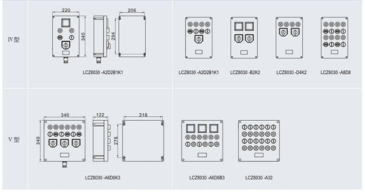 LCZ8030系列防爆防腐操作柱外形尺寸及举例