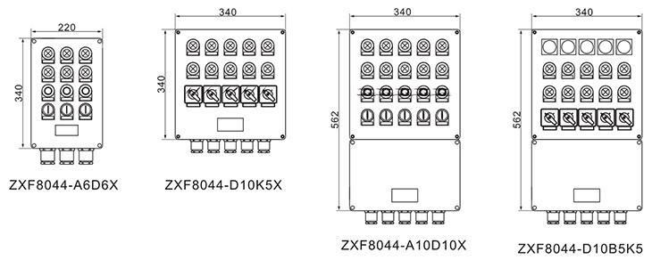 ZXF8044系列防爆防腐控制箱外形及安装尺寸