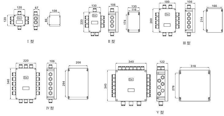 BJX系列防爆接线箱外形及安装尺寸