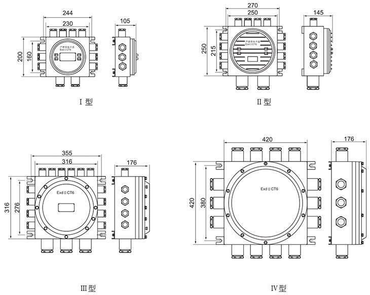 CJX8030系列防爆防腐接线箱外形及安装尺寸