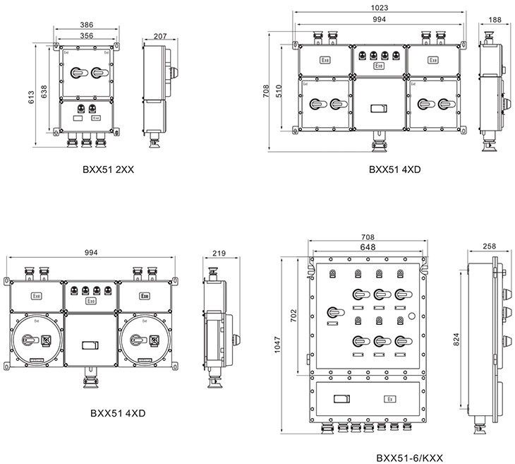 BXX51系列防爆动力检修箱外形及安装尺寸