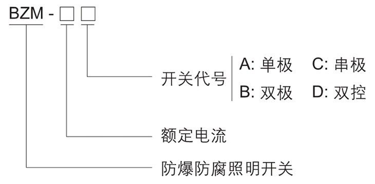 BZM系列防爆防腐照明开关型号含义