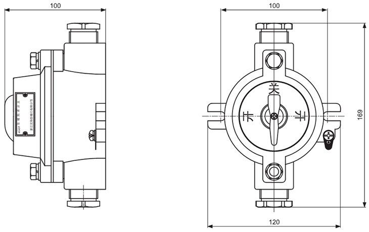 SW-10系列防爆照明开关外形及安装尺寸
