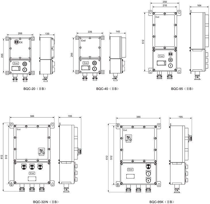 BQC系列防爆电磁起动器外形及安装尺寸