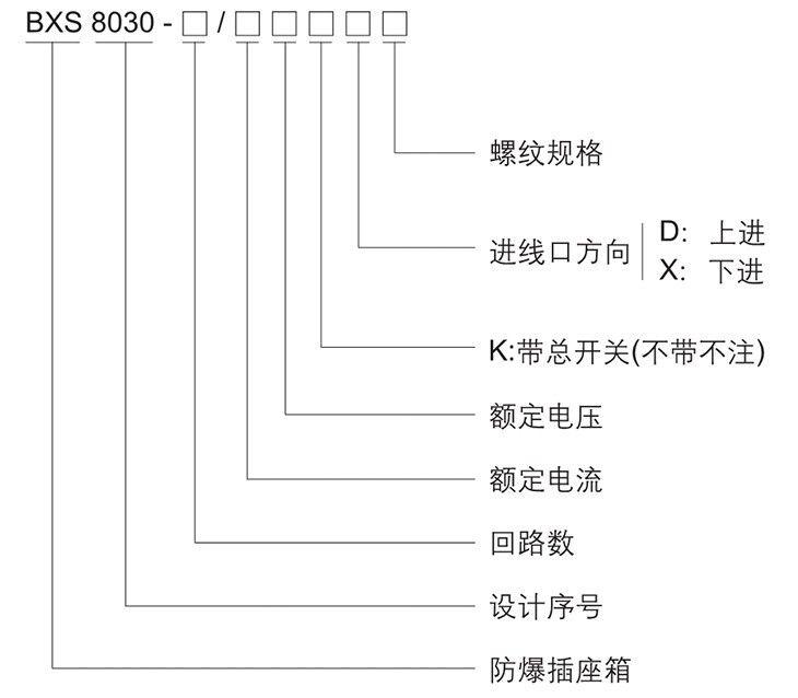BXS8030系列防爆防腐插座箱型号含义