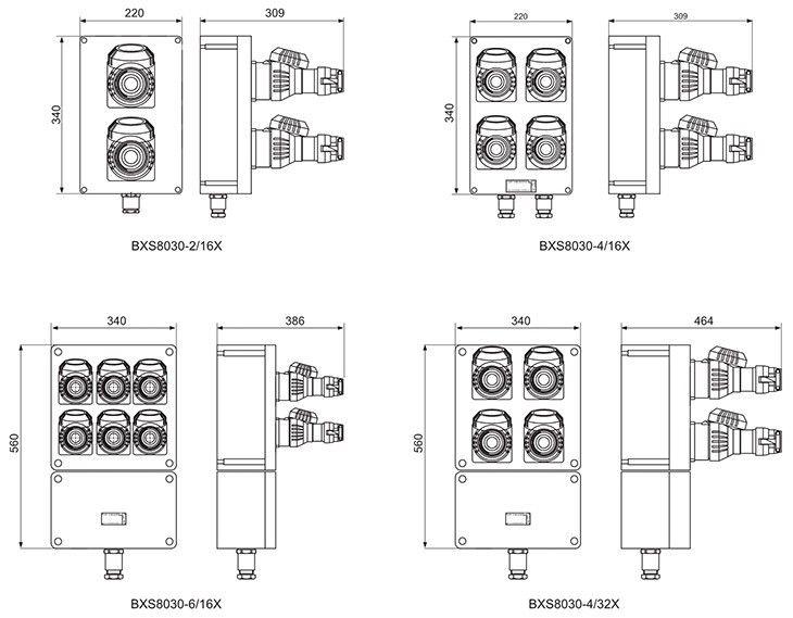 BXS8030系列防爆防腐插座箱外形及安装尺寸
