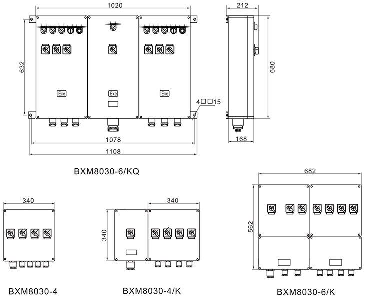 BXM(D)8030系列防爆防腐照明(动力)配电箱外形及安装尺寸