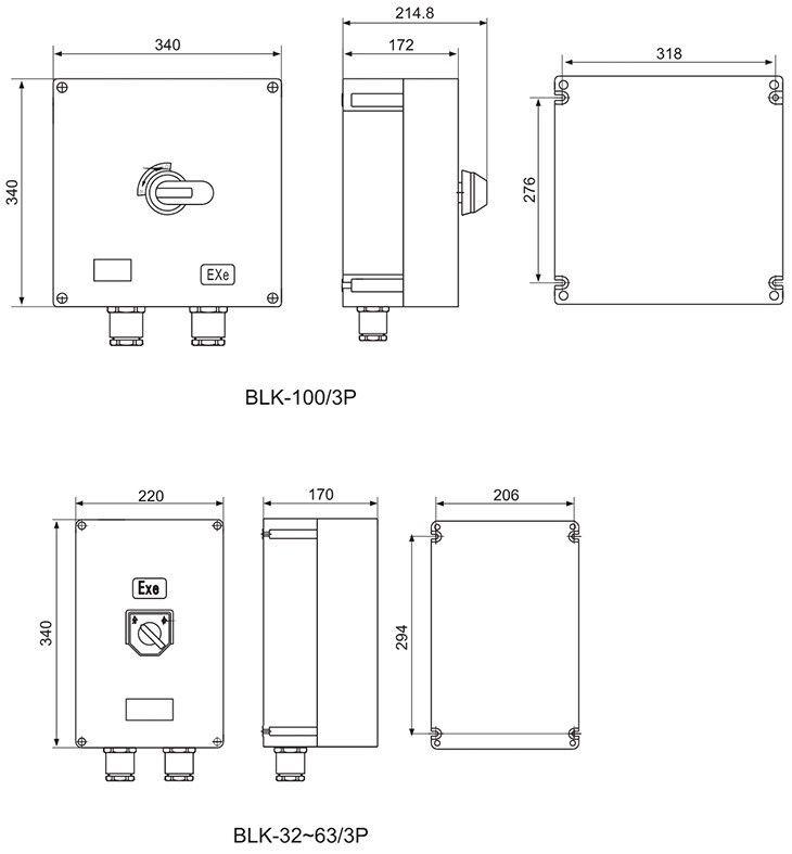 BLK系列防爆防腐断路器外形及安装尺寸