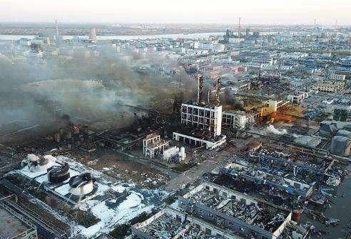 盐城市响水县化工园区爆炸后航拍图