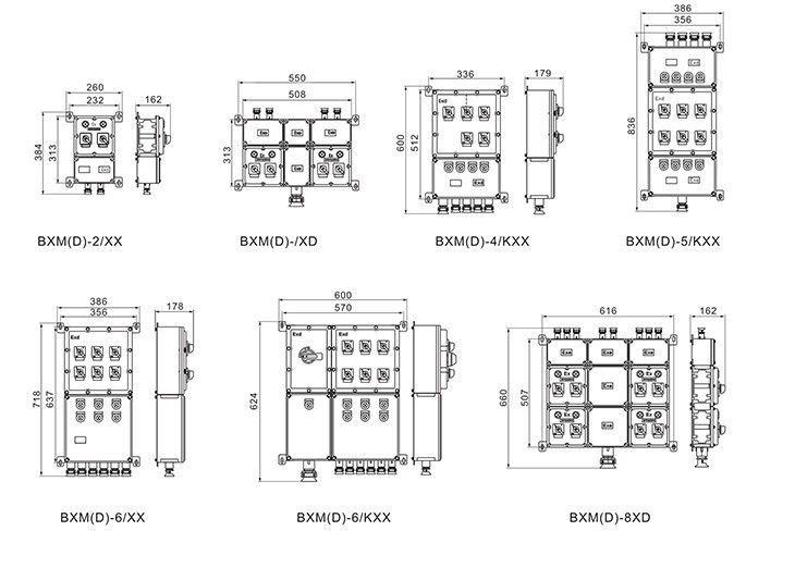 BXM(D)系列防爆照明(动力)配电箱外形及安装尺寸